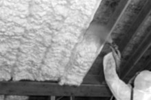 Insulating a ceiling with Spray Foam Insulation.
